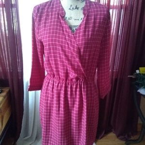 Red Patterned Professional Dress